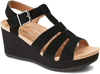 Vionic Women's Hoola Tawny T-Strap Wedge - Ladies Platform Sandal with Concealed Orthotic Arch Support