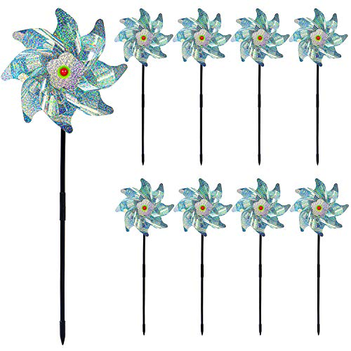 Cooraby 9 Pack Bird Repellent Pinwheels Holographic Mylar Pin Wheel Spinners Scare Off Birds and Pests