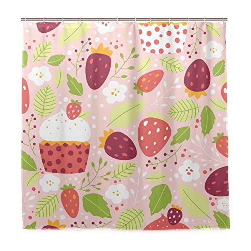 Orediy Erdbeere Cupcake Duschvorhang Wasserdicht Polyester mit Haken für Badezimmer Dekor 183 x 183 cm