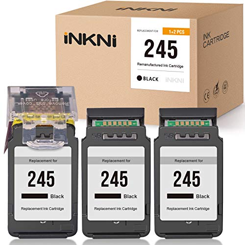 INKNI Compatible Ink Cartridge Replacement for Canon 245 PG-245 Ink Cartridge for Canon Pixma MG2520 MG2922 MG2924 MG2420 MG2522 MG2525 MG3020 MG2555 MX490 MX492 (1 Print Head + 3 Cartridges, Black)