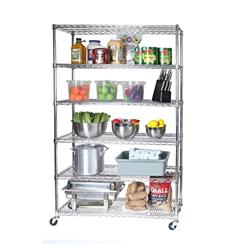 "Seville Classics UltraDurable Commercial-Grade 6-Tier NSF-Certified Wire Shelving with Wheels, 48"" W x 18"" D - Plated Steel"