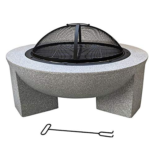 Outdoor Patio Fire Pit with Wood Burning Stove with Portable Poker and Spark Screen, 3 Legged Fireplace, for Backyard, Camping
