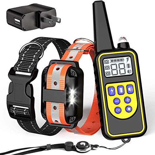 FunniPets Dog Training Collar, 2600ft Waterproof Dog Shock Collar with Remote for Medium and Large Dogs, Safe Reflective Collar and LED Light, 4 Training Modes Light Beep Vibration Static Shock