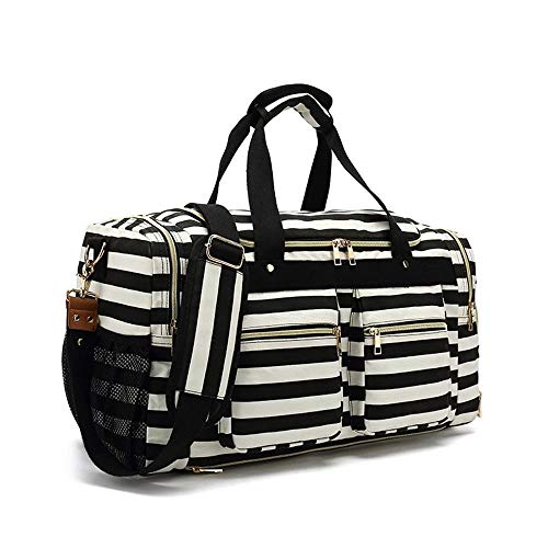 Canvas Duffel Bag Vintage Weekender Overnight Bag Travel Tote Luggage Sports Duffle Rose Patten (Color : Stripe)