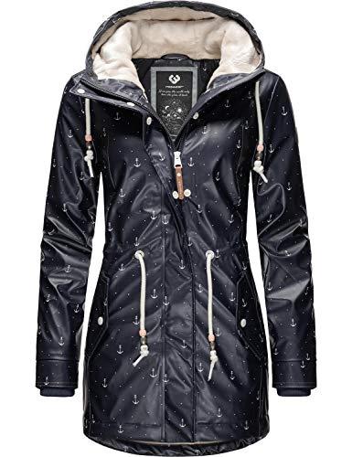Ragwear Damen Outdoor-Jacke Regenparka Monadis Rainy Black Label Navy Print20 Gr. L