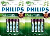 Philips - Batterie HR03 AAA ricaricabili, 1000 mAh, 1,2 V, 8 pezzi