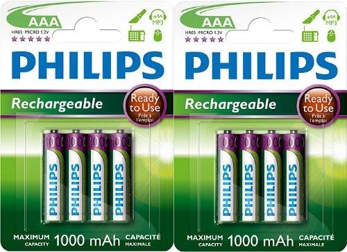 Lot de 8 piles rechargeables Philips AAA HR03 1,2 V 1000 mAh