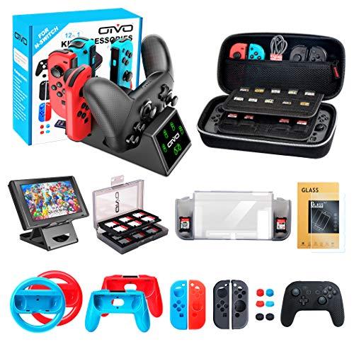 OIVO 12 in 1 Kit accessori per Nintendo Switch, Custodia per Il Trasporto - Dock di Ricarica - Supporto - Custodia per Schede - Protezione Schermo - Grip Joy-con - Custodie - Coperchi