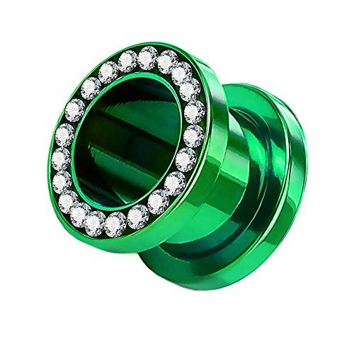 Taffstyle Túnel dilatador para la oreja, de acero inoxidable, titanio, con cierre de rosca, circonitas, cristales brillantes, 12 mm, color verde