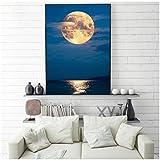 BD-Boombdl Nordic Sky Moon Seascape Wall Art Canvas Painting Poster Print Blue Modern Home Decor Imagen para la decoración del hogar 50X80 cm Sin Marco