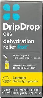 DripDrop ORS Electrolyte Hydration Powder Sticks, Lemon, 10g Sticks, 8 Count