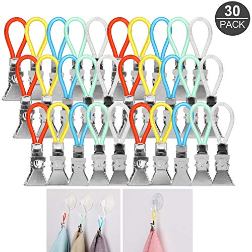 AKWOX (30-Pack) Kitchen Towels Clip, Tea Towel Holder Clips,Cloth Hook Clip Hangers for Home Kitchen Bathroom Cupboards Hanging Towels
