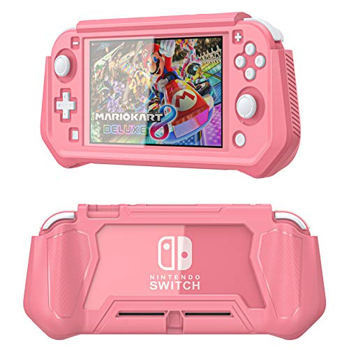 iNOTOGG Compatible Nintendo Switch Lite Screen Protector Case Cover with Hand Grip, Detachable Protective Case with Shockproof and Anti-Scratch Design for Nintendo Switch Lite, Coral