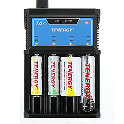 Tenergy T4s Intelligent 4-Bay Universal Charger for Li-ion, LiFePO4, NiMH and NiCD Rechargeable Batteries