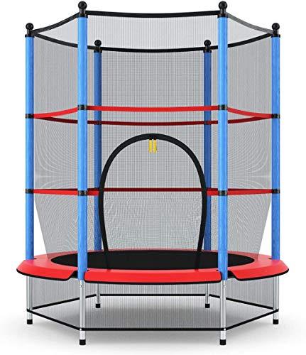 COSTWAY Trampolino da Giardino per Bambini, Trampolino Elastico con Rete di Sicurezza, Set Completo, Esercizio Fitness per Bambini Ragazzi, Ø140 cm (Blu)
