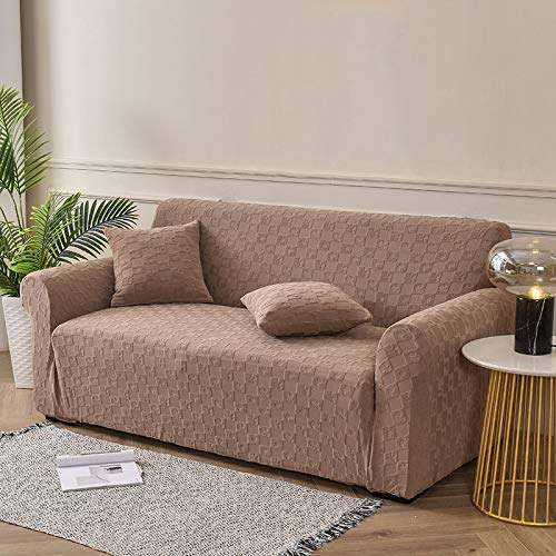 Sofa Slipcover Stretch Sofa Cover Soft Jacquard with Elastic Bottom Fitted Sofa Slipcover Furniture Protector 1-Piece Sofa Slipcover with Elastic Bottom 1,2,3 Seater -Coffee color 4 seater + 4 seat