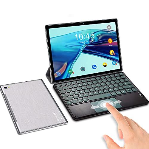Tablet 10 Pulgadas Android 10.0 6GB de RAM 64GB de ROM   SD 512GB, Tableta 5G WiFi 4G LTE Ultrar-Rápido Tablet PC Baratas y Buenas Quad-Core 1920 * 1200   OTG  GPS   Type-C   con Teclado (Plata)