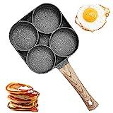 Sartén Para Huevos de 4 Tazas, Sartén Antiadherente de Aleación de Aluminio para Panqueques,...