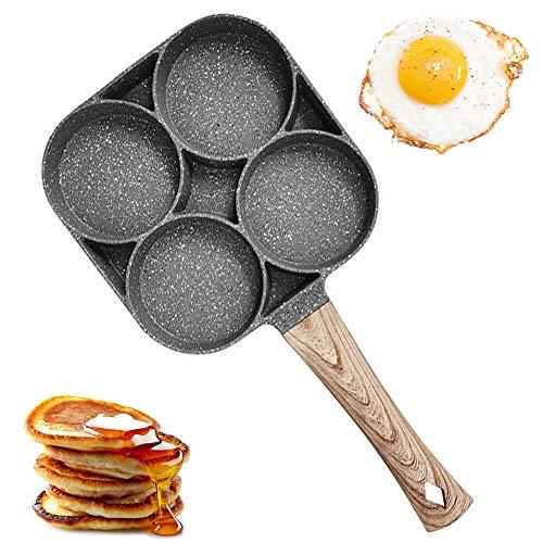 Padella per Uova da 4 Tazze, Padella per Frittelle in Lega di Alluminio Antiaderente Padella per Bistecca Macinata Fritta in Camicia per Piastre a Gas e Induzione (Wooden Handle)