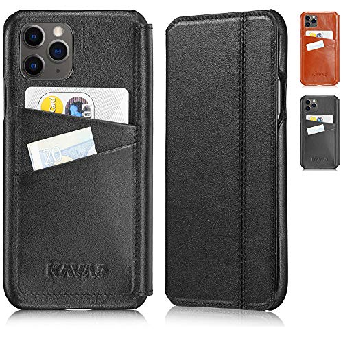"KAVAJ Case Compatible with Apple iPhone 12 Pro Max 6.7"" Leather - Dallas - Black Wallet Folio Cover with Card Holder"