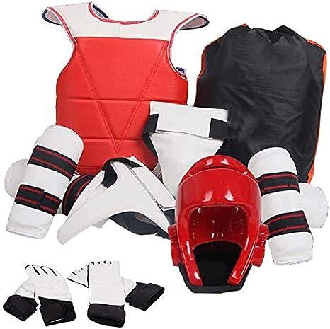 JXS Traje de Taekwondo de Corea del Protector de Engranaje, Protector del pie, antebrazo Protectores, Peto Reversible Cuerpo de Taekwondo Sanda Boxeo,Women,150~160cm