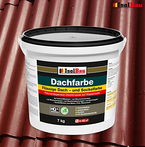 Dachfarbe Sockelfarbe Dachbeschichtung Dachlack Dachsanierung Polymermembran 7 kg Ziegelrot