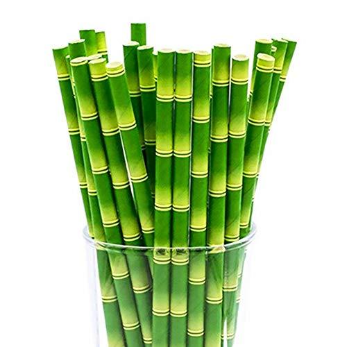 Hemore 100 Stück Bambus-Form biologisch abbaubar Papier-Trinkhalme für Party-Dekorationen (2 Packungen)