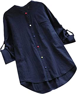 Macondoo Womens Long Sleeve Hi-Lo Classic Cotton Linen Button Down Shirts