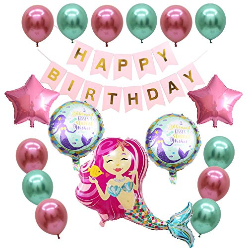 Sirena Decoración Cumpleaños, Mermaid Party Decorations Sirena Party Feliz Cumpleaños Ballon Banner para Baby Shower Decoraciones Nupciales de la Ducha