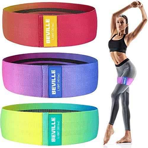 BEVILLE Widerstandsbänder, 3 Sets Fitnessbänder für zu Hause, im Fitnessstudio, im Büro und im Freien für Fitness, Hüfttraining, Krafttraining, Muskelaufbau, Farbverlaufs-Yoga-Beutebänder