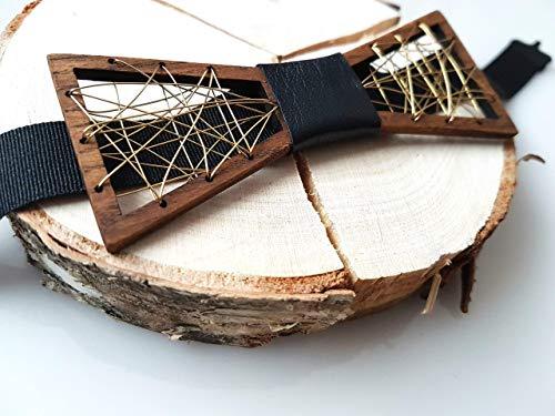 Holz-Metall-Fliege mit Lederband in der Mitte. Handarbeit