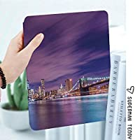 iPad 2/3/4 対応 2つ折りケース スタンド機能 オートスリープ超薄型 傷つけ防止ケース 手帳型カバー 環境にやさしい材質高層ビルと夜ニューヨーク市のスカイラインマンハッタンアメリカアメリカのパノラマ