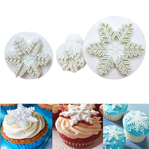 Kylewo 3 stks Sneeuwvlok Cookie Cutter Taart Decoratie Marsepein Fondant Bakken Stempel Set - Cake Decorating, Taart, Marsepein