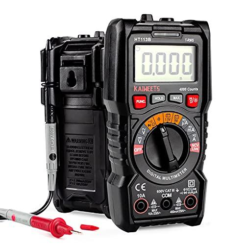Digital Multimeter, KAIWEETS Strommessgerät Auto Ranging True RMS 4000 Counts, Messung von AC/DC Spannung, Strom, Widerstand, Diode, Durchgangsprüfung, Battrietester für Zuhause, KfZ etc. (Schwarz)
