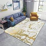 Gold Marble on White Original Height Quality Print Area Rugs Non-Slip Floor Mat Doormats Home Runner Rug Carpet for Bedroom Indoor Outdoor Kids Play Mat Nursery Throw Rugs Yoga Mat