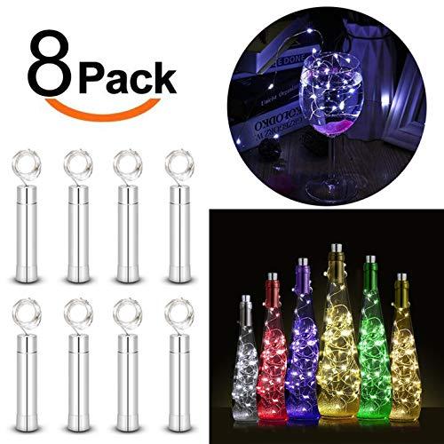 Preisvergleich Produktbild LIUNIAN Flasche Lichter Lichterkette 8 Set Batteriebetriebene Weinflasche Licht Für Party,  Garten,  Schlafzimmer,  Weihnachten,  Halloween,  Hochzeit (Kaltlicht)