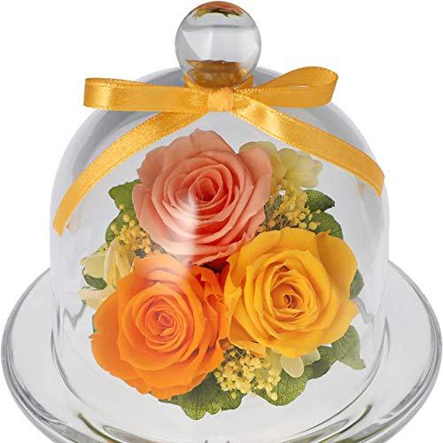 プリザーブドフラワーギフト ガラスドーム 誕生日 お祝い 敬老の日 セシル (ミモザイエロー)