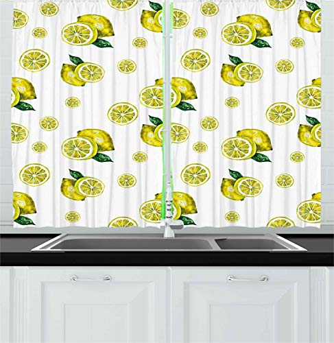 """Ambesonne Modern Kitchen Curtains, Lemon with Slices and Leaves Summer Season Fresh Fruit Watercolor, Window Drapes 2 Panel Set for Kitchen Cafe Decor, 55"""" X 39"""", Green Yellow"""