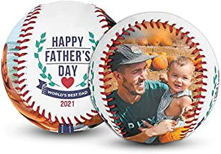 Make-A-Ball Custom Father's Day Photo Baseball with Personalized Pictures for Dad or Grandpa (World's Best Dad - Emblem)
