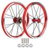 Pwshymi Ensemble de Jantes de vélo Pliantes de 16 Pouces résistant à l'usure V Brake exécution exquise Durable Avant 74 mm arrière 85 mm moyeu de Roues de vélo pour Le Cyclisme pour(Red)
