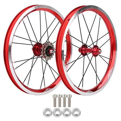 Pwshymi Ensemble de Jantes de vélo Pliantes de 16 Pouces résistant à lusure V Brake exécution exquise Durable Avant 74 mm arrière 85 mm moyeu de Roues de vélo pour Le Cyclisme pour(Red)
