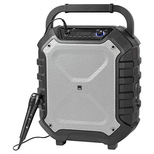 CTC EC 7012 mobiles Musiksystem, Karaokefunktion inkl. Mikrofon, leistungsstarker Akku, USB Playback Port und AUX-IN, Preset Equalizer, Bluetooth, 120 Watt RMS, 230 Volt-Anschluss