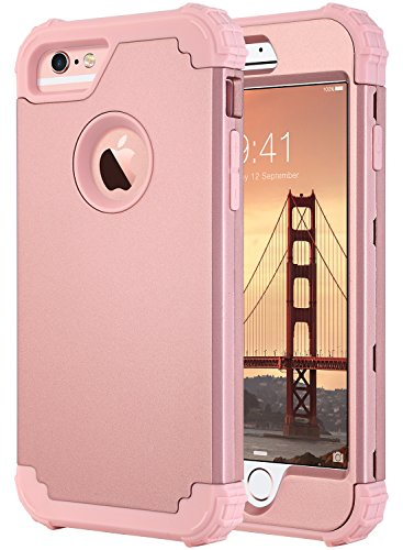 ULAK iPhone 6s Case, iPhone 6 Case, 3 in 1 Hybrid Heavy Duty Rugged Protective Hard Shell Shockproof TPU Anti Scratch Phone Cover for Apple iPhone 6s/iPhone 6 4.7 inch, Rose Gold