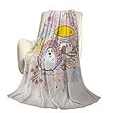 Hedgehog Moderno y Elegante futón con Colcha para Todas Las Estaciones Fondo Abstracto con casa de Setas Erizo con arreglo Floral Manta cálida para Sala de Estar / Dormitorio con luz de cuat