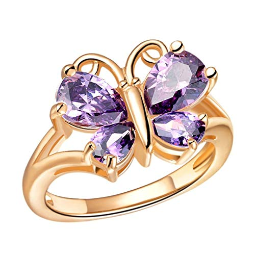 KnSam Damen Ringe In Silber Band Ring Herren Kupfer Versilber Der Schmetterling Rose Gold Ring Valentinstag Gedenkenstag Geschenk