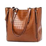 POPOTI Bolsos Mano Mujeres, Bolsos de Hombro Cuero Bolso de Mensajero Messenger Crossbody Bag Nuevos Bolsillos de Compras Elegantes de la Señora (Marrón)