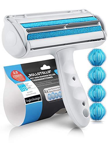 Bluepet® RolloTollo 2.0 Selbstreinigende Fusselrolle - Tierhaarentferner für Haustierhaar, Entfernung Tierhaar von Sofa, Bett & Möbel, Fusselbürste Hundehaare & Katzenhaare