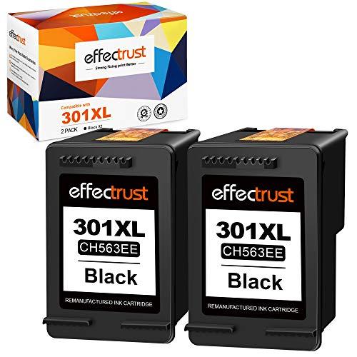 Effectrust Rigenerato Cartucce d'inchiostro Sostituzione per HP 301 301XL per OfficeJet 2620 4630 4632 DeskJet 1000 1050 2050 2510 2540 3000 3050 3050A Envy 4500 4502 5530 (Nero, 2-Pack)