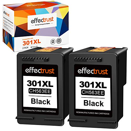 effectrust Cartuchos de tinta remanufacturados para HP 301 301XL para HP Deskjet 1000 1050 1510 1512 2050 2050A 2510 2540 3050 Officejet 2620 4630 4500 5530 4 502 (2 negros).