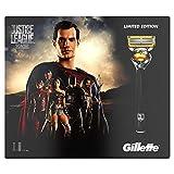 Gillette Fusion ProShield - Set de regalo edición limitada Liga de la Justicia, Superman, con maquinilla, 3 recambios y gel de afeitado de 170 ml